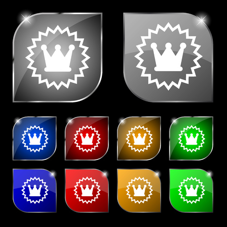 rown: ?rown icon sign. Set of ten colorful buttons with glare. Vector illustration Illustration