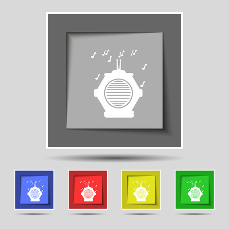 fm: old analog radio icon sign on original five colored buttons. Vector illustration