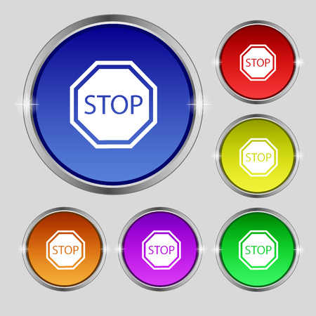 traffic ticket: Stop icon sign. Round symbol on bright colourful buttons. Vector illustration Illustration