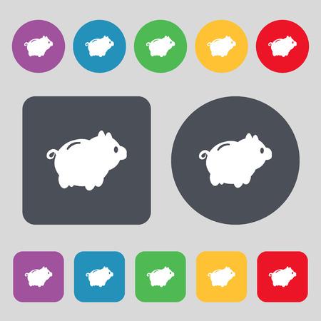 dolar: Piggy signo icono de banco. Un conjunto de 12 botones de colores. Dise�o plano. ilustraci�n vectorial Vectores