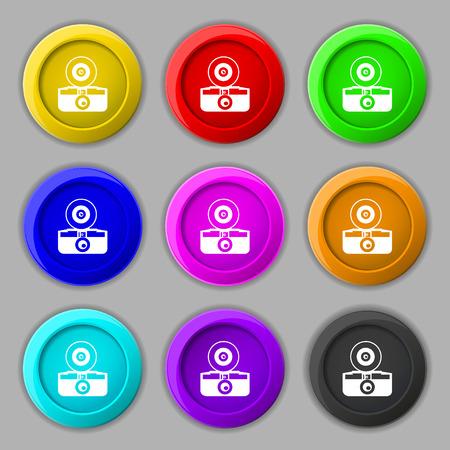 reflex camera: retro photo camera icon sign. symbol on nine round colourful buttons. Vector illustration