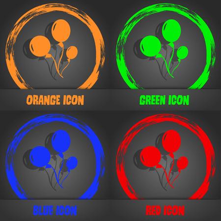 aerostatics: Balloons icon. Fashionable modern style. In the orange, green, blue, red design. Vector illustration Illustration