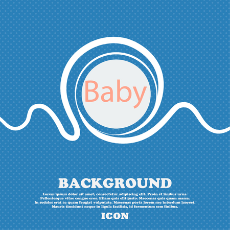 bebe a bordo: Baby on board sign icon. Infant in car caution symbol. Baby pacifier nipple. Blue and white abstract background flecked with space for text and your design. Vector illustration