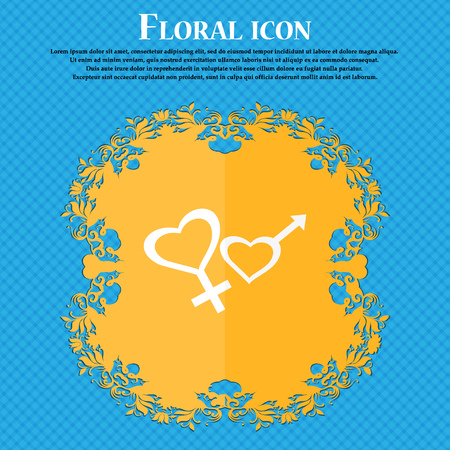 marital: Male and female icon. Floral flat design on a blue abstract background with place for your text. Vector illustration Illustration
