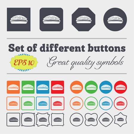 lunchroom: Burger, hamburger icon sign. Big set of colorful, diverse, high-quality buttons. Vector illustration Illustration
