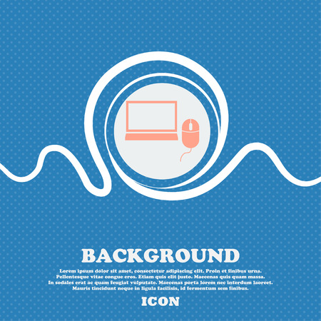 blue widescreen widescreen: Computer widescreen monitor, mouse sign ico. Blue and white abstract background flecked with space for text and your design. Vector illustration