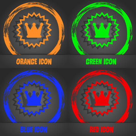 rown: ?rown icon. Fashionable modern style. In the orange, green, blue, red design. Vector illustration