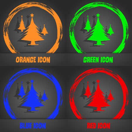 coniferous forest: coniferous forest, tree, fir-tree icon. Fashionable modern style. In the orange, green, blue, red design. Vector illustration