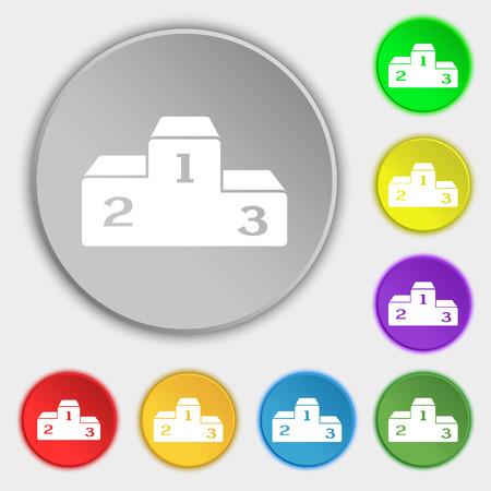 unlucky: Podium icon sign. Symbol on eight flat buttons. Vector illustration