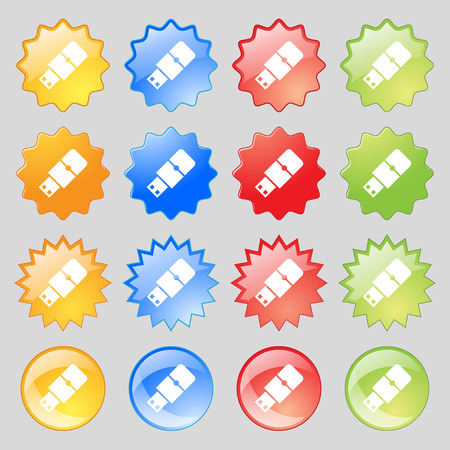 pocket pc: USB flash icon sign. Big set of 16 colorful modern buttons for your design. Vector illustration