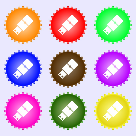 sumbol: USB flash icon sign. Big set of colorful, diverse, high-quality buttons. Vector illustration