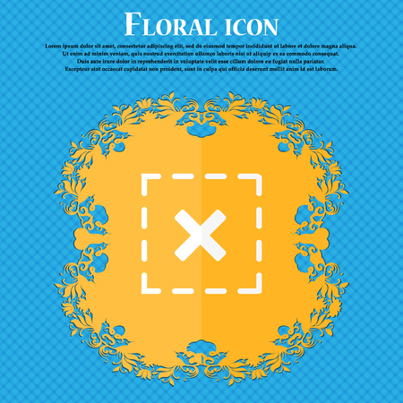 Cross in square icon. Floral flat design on a blue abstract background with place for your text. Vector illustration
