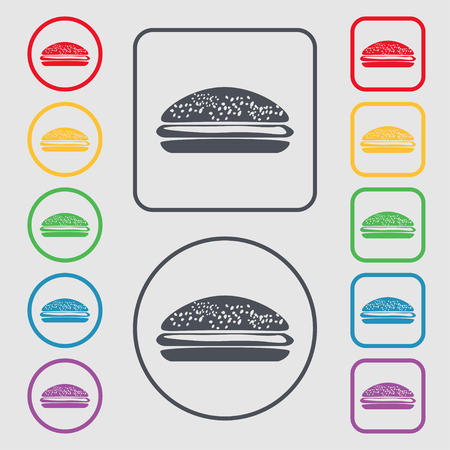 lunchroom: Burger, hamburger icon sign. symbol on the Round and square buttons with frame. Vector illustration Illustration