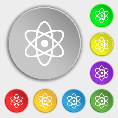 atomic nucleus: Atom, physics icon sign. Symbol on eight flat buttons. Vector illustration