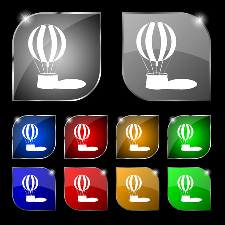 ballooning: Hot air balloon icon sign. Set of ten colorful buttons with glare. Vector illustration Illustration