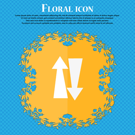 two way traffic: Two way traffic, icon. Floral flat design on a blue abstract background with place for your text. Vector illustration
