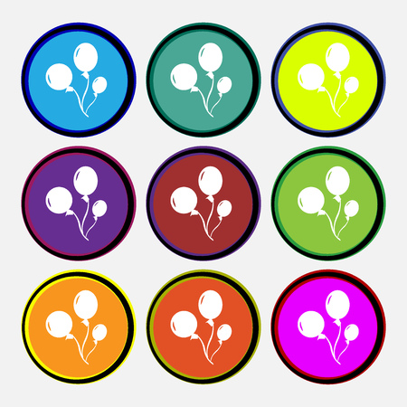 Balloons icon sign. Nine multi colored round buttons. Vector illustration Çizim