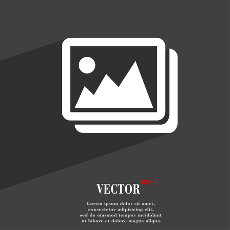 space for images: images, jpeg, photograph symbol Flat modern web design with long shadow and space for your text. Vector illustration