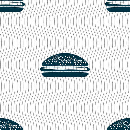 lunchroom: Burger, hamburger icon sign. Seamless pattern with geometric texture. Vector illustration
