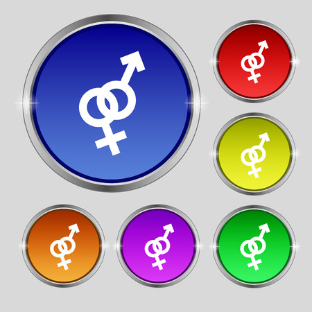 marital: Male and female icon sign. Round symbol on bright colourful buttons. Vector illustration Illustration