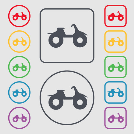 dirt bike: ATV icon sign. symbol on the Round and square buttons with frame. Vector illustration Illustration