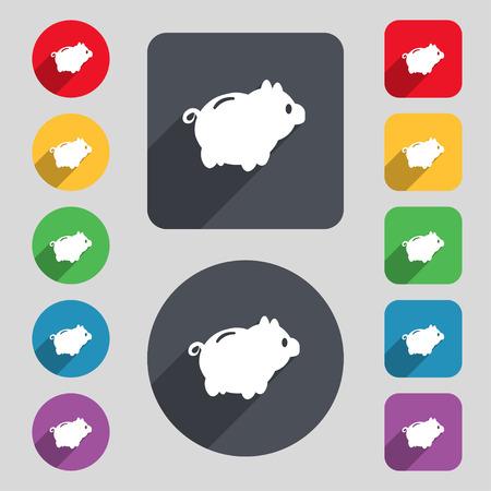 signo de pesos: Piggy signo icono de banco. Un conjunto de 12 botones de colores y una larga sombra. Diseño plano. ilustración vectorial