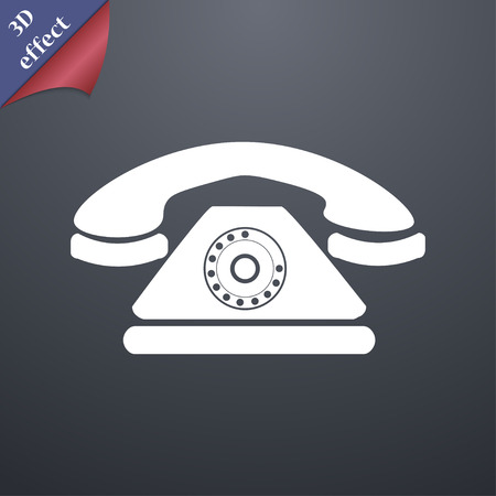 ring tones: Retro telephone icon symbol. 3D style. Trendy, modern design with space for your text Vector illustration