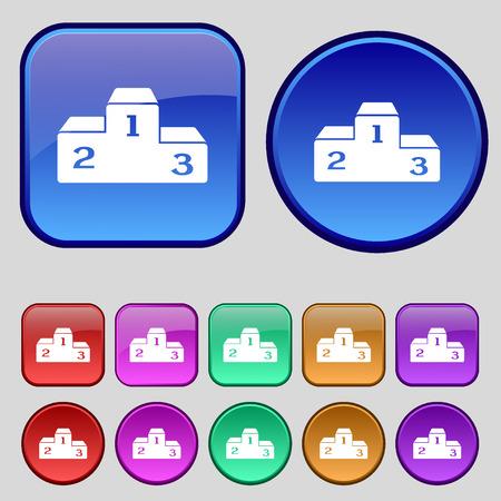 lustre: Podium icon sign. A set of twelve vintage buttons for your design. Vector illustration