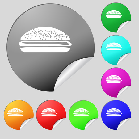 lunchroom: Burger, hamburger icon sign. Set of eight multi colored round buttons, stickers. Vector illustration
