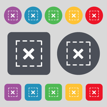 rood: Cross in square icon sign. A set of 12 colored buttons. Flat design. Vector illustration Illustration