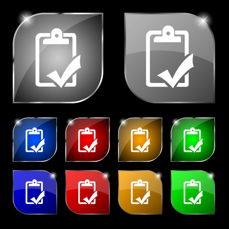 handout: Document grammar control, Test, work complete icon sign. Set of ten colorful buttons with glare. Vector illustration