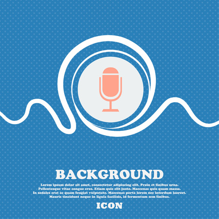 voices: Microphone icon. Speaker symbol. Live music sign. Blue and white abstract background flecked with space for text and your design. Vector illustration