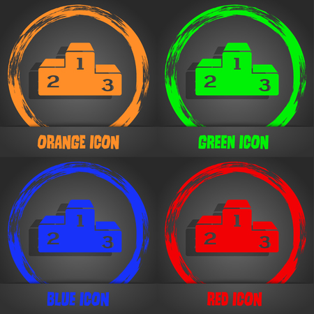 lustre: Podium icon. Fashionable modern style. In the orange, green, blue, red design. Vector illustration