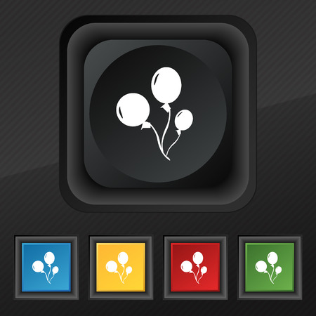 aerostatics: Balloons icon symbol. Set of five colorful, stylish buttons on black texture for your design. Vector illustration