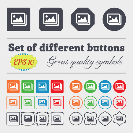 photograph: images, jpeg, photograph icon sign. Big set of colorful, diverse, high-quality buttons. Vector illustration