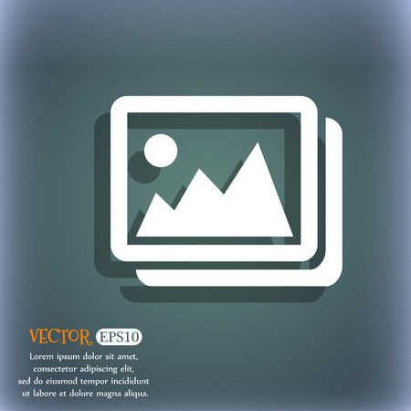 space for images: images, jpeg, photograph icon. On the blue-green abstract background with shadow and space for your text. Vector illustration Illustration