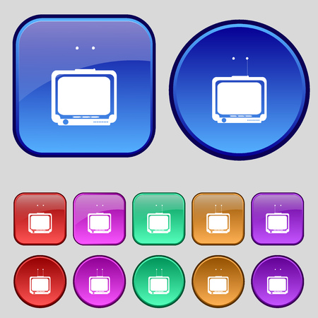 tvset: TV icon sign. A set of twelve vintage buttons for your design. Vector illustration