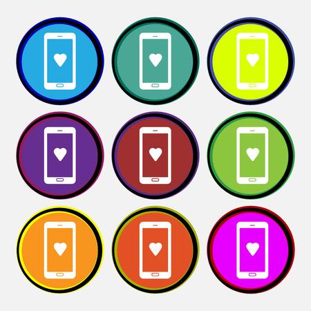 pals: Love letter, valentine day, billet-doux, romantic pen pals icon sign. Nine multi colored round buttons. Vector illustration Illustration