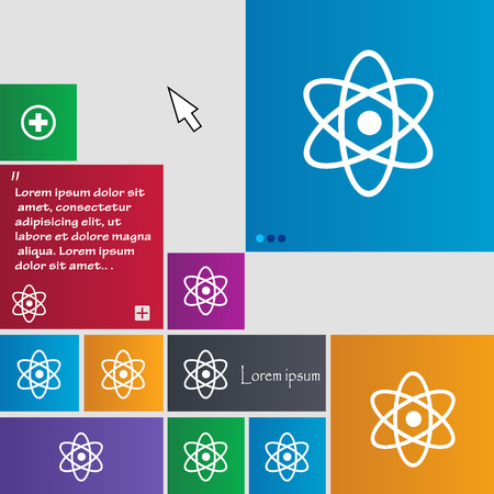 laboratory label: Atom, physics icon sign. buttons. Modern interface website buttons with cursor pointer. Vector illustration