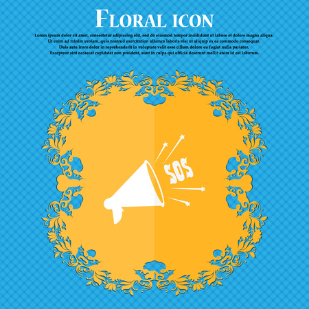public safety: sos web speaker icon. Floral flat design on a blue abstract background with place for your text. Vector illustration