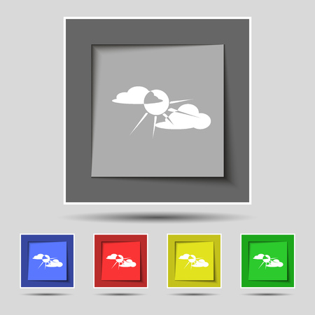 behind: sun behind cloud icon sign on original five colored buttons. Vector illustration Illustration