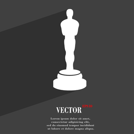 Oscar statuette symbol Flat modern web design with long shadow and space for your text. Vector illustration