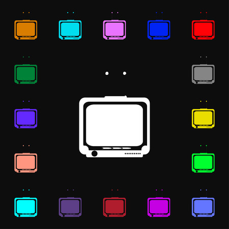 tvset: TV icon sign. Lots of colorful symbols for your design. Vector illustration