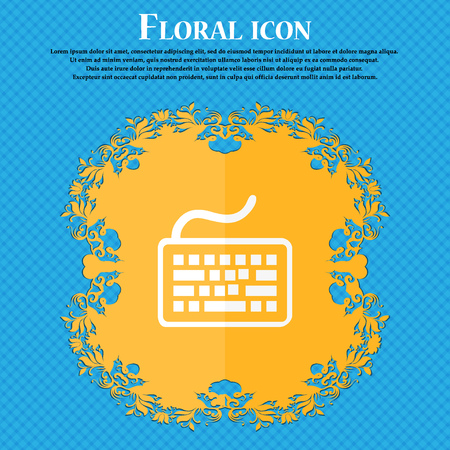 qwerty: Keyboard icon. Floral flat design on a blue abstract background with place for your text. Vector illustration Illustration