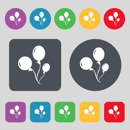aerostatics: Balloons icon sign. A set of 12 colored buttons. Flat design. Vector illustration