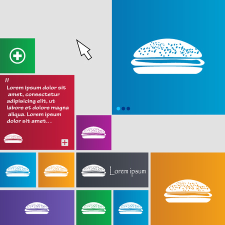 lunchroom: Burger, hamburger icon sign. buttons. Modern interface website buttons with cursor pointer. Vector illustration