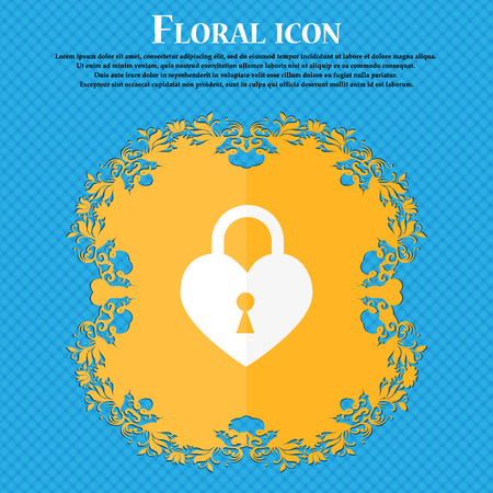 secret codes: Lock in the shape of heart icon. Floral flat design on a blue abstract background with place for your text. Vector illustration