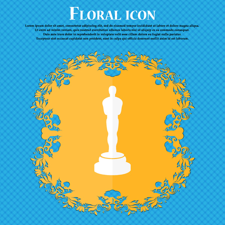 oscar: Oscar statuette icon. Floral flat design on a blue abstract background with place for your text. Vector illustration