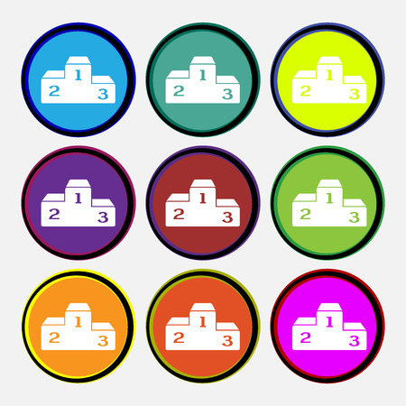 place to shine: Podium icon sign. Nine multi colored round buttons. Vector illustration