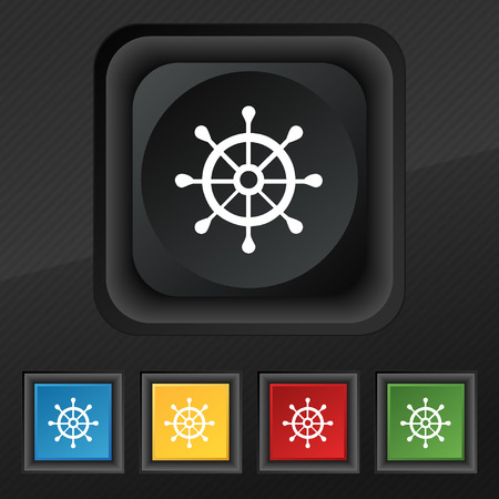 schooner: ship helm icon symbol. Set of five colorful, stylish buttons on black texture for your design. Vector illustration